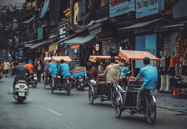 A downtown scene in a Vietnamese city.